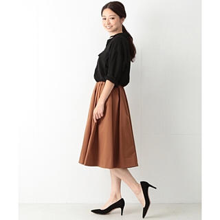 デミルクスビームス(Demi-Luxe BEAMS)の2017AW デミルクスビームス テラコッタ色 ミディ丈スカート 36(ひざ丈スカート)