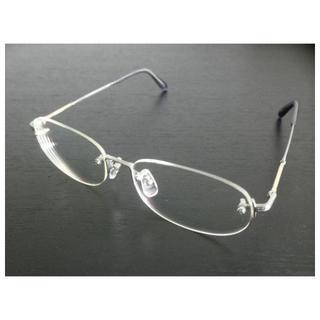超美品 パリミキ眼鏡「ツーポイントフレームAu13」チタン・18金(サングラス/メガネ)