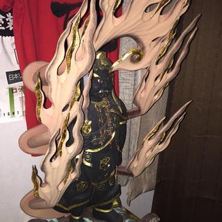玉眼 不動明王様 木彫り 仏像 大型 極上品