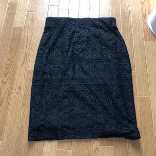 ヴィス(ViS)のvis 総レース スカート タイト 美品 M ブラック 上品(ひざ丈スカート)