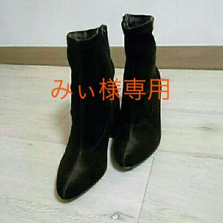 ジーユー(GU)の美品*GU*ベロアストレッチブーツ(ブーツ)