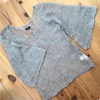 アップスタート(UPSTART)の●透かし編みニットセーター 、グレー、アップスタート  M、 七分袖(ニット/セーター)