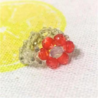 ビーズリング  花 赤 指輪(リング(指輪))