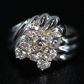 Pt900 K18 ダイヤモンド リング(リング(指輪))