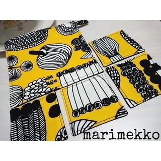 マリメッコ(marimekko)のマリメッコ プータルフリンパルハート 黄色×黒色 テーブルセット 北欧(キッチン小物)