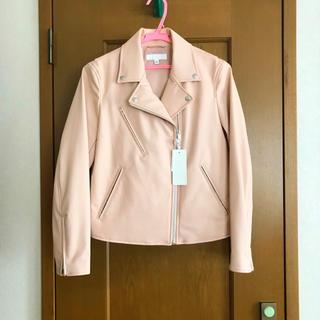 ユニクロ(UNIQLO)の新品 UNIQLO ネオレザーライダースジャケット ピンク(ライダースジャケット)