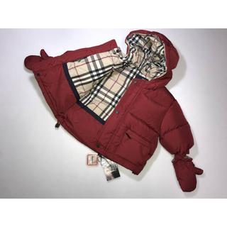 バーバリー(BURBERRY)のバーバリーダウンジャケット赤ミトン型手袋付0才3ヶ月50cm60cmノバチェック(ジャケット/コート)