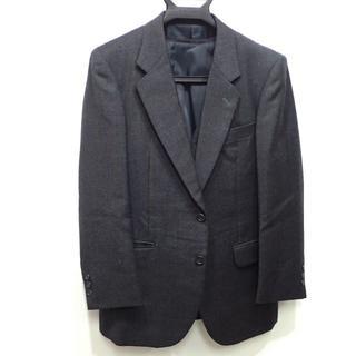 C592 中古 秋冬用ビジネススーツ グレー ジャケット ネーム入り(スーツジャケット)