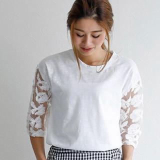 袖花柄シースルー Tシャツ XL(Tシャツ(半袖/袖なし))