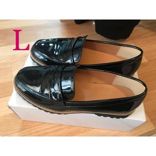 ジーユー(GU)のGU エナメルローファー L 黒 ブラック エナメルパンプス(ローファー/革靴)