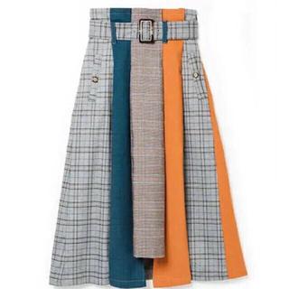 レディアゼル(REDYAZEL)のレディアゼル チェック 切り替えスカート 2018 安室奈美恵 完売(ロングスカート)