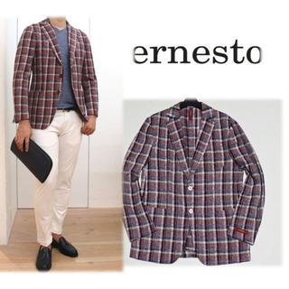 エルネスト(ELNEST)の新品【エルネスト】麻 チェック柄 2Bジャケット 50 春夏モデル(テーラードジャケット)