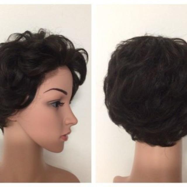 1e7a9bb9672bd2 AW1 展示品人毛100% フルウイッグ ショート 白髪隠し 医療用にもの通販 ...