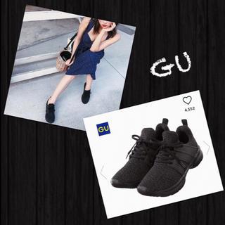 ジーユー(GU)のGU✨完売❗️新品・タグ付き スポーツスニーカー ニット スニーカー ブラック(スニーカー)