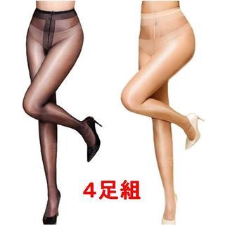 お得な4足組 12D  ツヤ光沢 パンスト 美脚 ブラック・ベージュ 新品(タイツ/ストッキング)