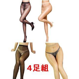 お得な4足組 12Dと30D 光沢 パンスト 美脚 ブラック・ベージュ 新品(タイツ/ストッキング)