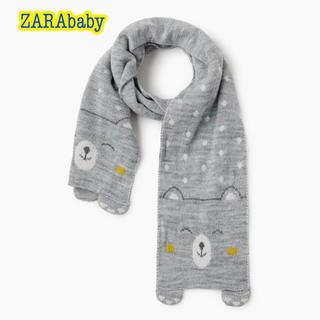 ザラ(ZARA)の新品・未使用・タグ付【ZARAbaby】ニットマフラー クマさん刺繍入り XS(マフラー/ストール)