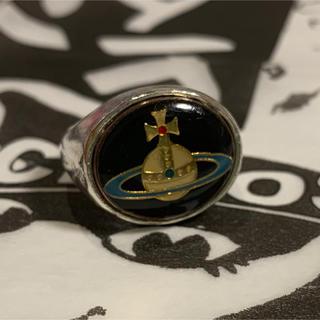 ヴィヴィアンウエストウッド(Vivienne Westwood)のVivienne  Westwood エナメルオーブボタンリング ブラック XS(リング(指輪))