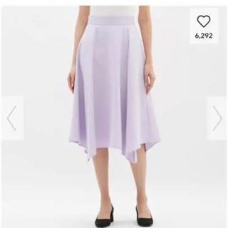 ジーユー(GU)のイレギュラーヘムミディスカート☆GUジーユー☆パープルスカートLサイズ(ひざ丈スカート)