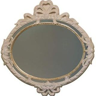 ローラアシュレイ(LAURA ASHLEY)のイタリア製 クラシカルアンティークミラー ロココ アイボリーリボン ゴールド(壁掛けミラー)