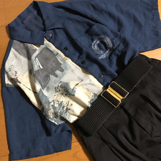 グリモワール(Grimoire)のメンズ インディゴブルー ペイント柄 透け感 半袖シャツ 刺繍(シャツ)