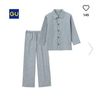 ジーユー(GU)の新品GU ストライプパジャマ140グレー(パジャマ)