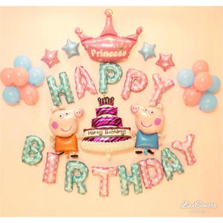 ペッパピッグ ビッグケーキ ティアラ  誕生日 バルーン 画像内バルーン全部(モビール)