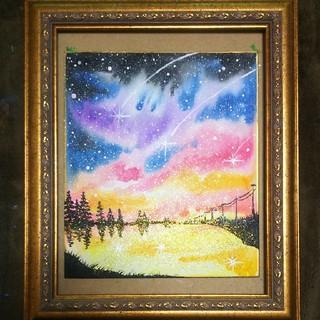 【星降る夜に】水彩画。(絵画/タペストリー)
