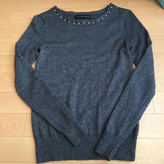 グリーンレーベルリラクシング(green label relaxing)のgreen label relaxing ☆グレーのパール付きセーター(ニット/セーター)