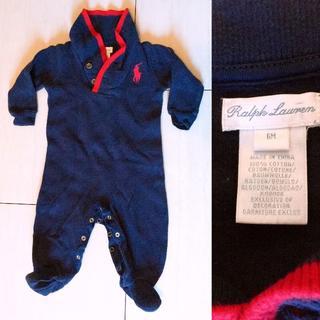ラルフローレン(Ralph Lauren)の中古美品 ラルフローレン ビッグポニーのロンパース(紺) 6M・70cm(ロンパース)