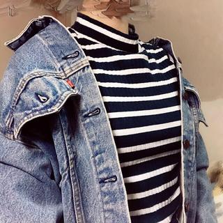 ジーユー(GU)のボーダーハイネックT(長袖)BB(Tシャツ(長袖/七分))