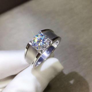 【贅沢2ct 】輝くモアサナイト ダイヤモンド リング(リング(指輪))