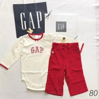 ベビーギャップ(babyGAP)の【2点セット】新品タグ 80 babyGAP 長袖 ロンパース 長パンツ 花柄赤(ロンパース)