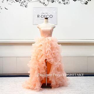 ウエディングドレス (ピンク)上半身レース・前空きスカート ブライダル二次会ドレ(ウェディングドレス)