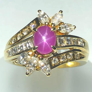k18yg  スタールビー ダイヤモンド  リング 指輪 豪華 1.43ct!!(リング(指輪))