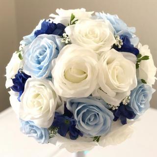 白バラ×ブルー濃淡ラウンドブーケ☆(ブーケ)