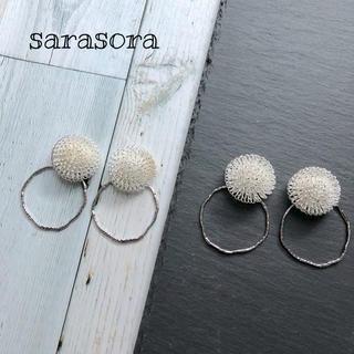 336 dandelion fluff×hoop earrings(ピアス)