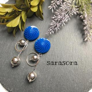 439 blue×silver  ball earrings(ピアス)