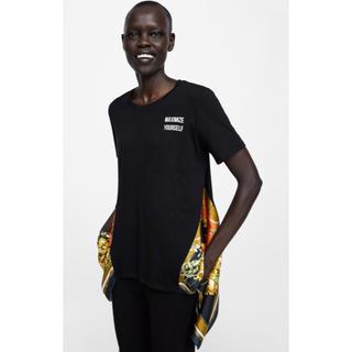 ザラ(ZARA)の新品未使用タグ付き ZARA Sサイズ スカーフ付きロゴTシャツ(Tシャツ/カットソー(半袖/袖なし))