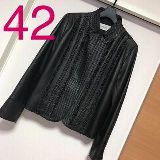 美品 羊革 ラムレザー 本革 ジャケット 42サイズ 大きいサイズ(毛皮/ファーコート)