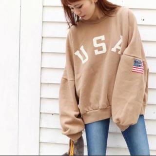 """トゥデイフル(TODAYFUL)の大人気item♡via j """"USA""""ロゴトレーナー(トレーナー/スウェット)"""
