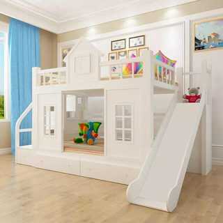 ラスト1台!送料無料★木製.子供ベッド木材二段ベッドはしごキャビネットスライダー(ロフトベッド/システムベッド)