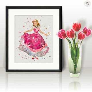 ディズニー(Disney)の日本未発売!シンデレラ(ピンクドレス)アートポスター【額縁付き・送料無料!】(ポスター)
