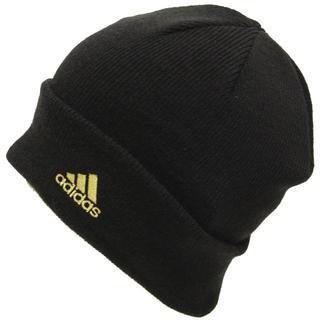 アディダス(adidas)のadidas アディダスニット帽子 ワッチ ビーニー ロゴ★ブラックゴールド新品(ニット帽/ビーニー)