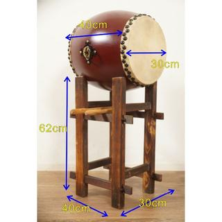 【新品・未使用】 牛革 和太鼓 1.0尺・バチ付き・台付き  祭り  (和太鼓)