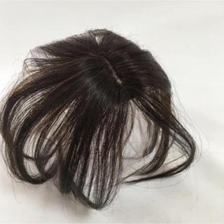 新品!人毛100%頭頂部付け毛ヘア医療用にもブラウン★洗える耐熱男女兼用(前髪ウィッグ)