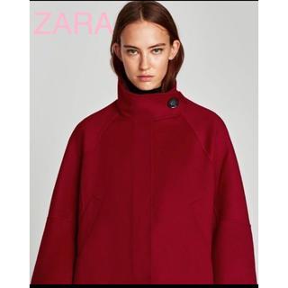 ザラ(ZARA)のsale!新品タグ付☆ZARAザラ☆ウール素材スタンドカラーショート丈ケープ赤(ポンチョ)