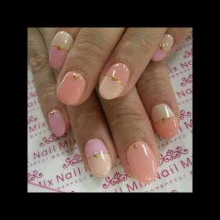 ピンク♡バイカラーネイル