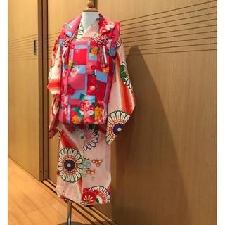 3歳 5歳 着物 レトロ アンティーク  モダン(和服/着物)
