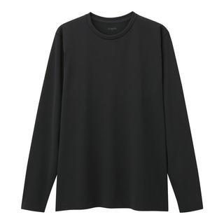 ジーユー(GU)のGU サイドシームレスクルーネックT(長袖)GS ブラック XL 新品A(Tシャツ/カットソー(七分/長袖))